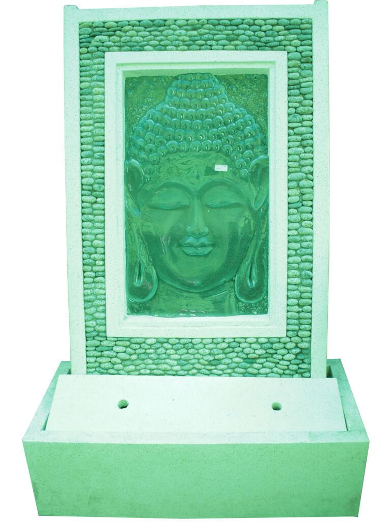 Пристенный фонтан Будда из стекла - фото